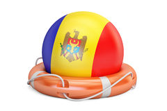 Lifebelt with Moldavia flag, safe, help and protect concept. 3D Stock Photography
