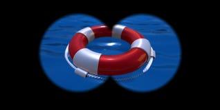 Lifebelt na wodzie Zdjęcia Stock