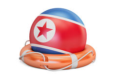 Lifebelt with North Korea flag, safe, help and protect concept. Stock Photo