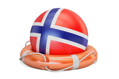 Lifebelt with Norway flag safe, help and protect concept. 3D ren Stock Photo