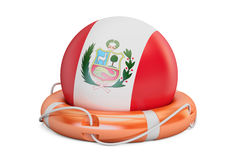 Lifebelt with Peru flag, safe, help and protect concept. 3D rend Royalty Free Stock Photos