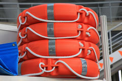 Lifebelt. Pile of lifebelts. Life guard belts stock image