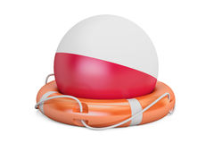 Lifebelt with Poland flag, safe, help and protect concept. 3D re Stock Photography