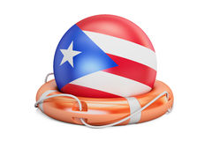 Lifebelt with Puerto Rico flag, safe, help and protect concept. Royalty Free Stock Photos