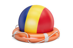 Lifebelt with Romania flag, safe, help and protect concept. 3D r royalty free illustration