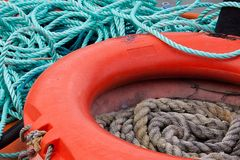 Lifebelt and Ropes Royalty Free Stock Photos