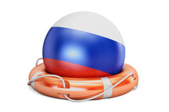 Lifebelt with Russia flag, safe, help and protect concept. 3D re Stock Photos