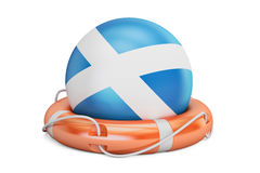 Lifebelt with Scotland flag, safe, help and protect concept. 3D Royalty Free Stock Photography