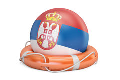 Lifebelt with Serbia flag, safe, help and protect concept. 3D re Stock Photos