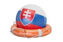 Lifebelt with Slovakia flag, safe, help and protect concept. 3D Royalty Free Stock Photography