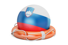 Lifebelt with Slovenia flag, safe, help and protect concept. 3D Royalty Free Stock Images