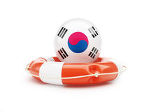 Lifebelt with South Korea flag help on a white background Royalty Free Stock Images