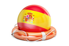 Lifebelt with Spain flag, safe, help and protect concept. 3D ren Royalty Free Stock Images