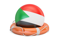 Lifebelt with Sudan flag, safe, help and protect concept. 3D ren Royalty Free Stock Photography