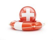 Lifebelt with Switzerland flag help  on a white background Royalty Free Stock Photos