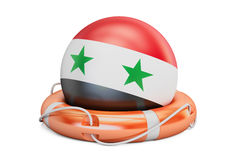 Lifebelt with Syria flag, safe, help and protect concept. 3D ren Royalty Free Stock Photography