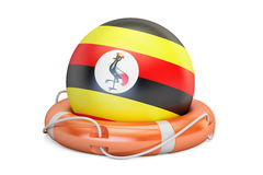 Lifebelt with Uganda flag, safe, help and protect concept. 3D re Stock Photography