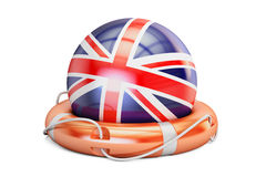 Lifebelt with UK flag, safe, help and protect concept. 3D render Royalty Free Stock Photography