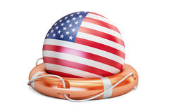 Lifebelt with USA flag, safe, help and protect concept. 3D rende Stock Photos