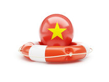 Lifebelt with Vietnam flag help on a white background Stock Images