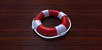 Lifebelt on a wooden floor. Lifebelt on a yacht wooden floor Stock Photos