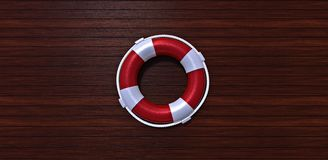 Lifebelt on a wooden floor. Lifebelt on a yacht wooden floor Royalty Free Stock Photos