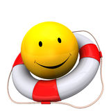 Lifebelt Yellow Smiley. Yellow smiley with lifebelt on the white background Royalty Free Stock Photography