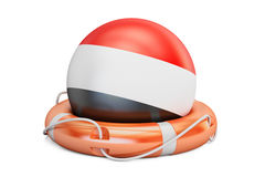 Lifebelt with Yemen flag, safe, help and protect concept. 3D  Stock Photos