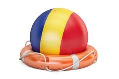 Lifebelten med den Rumänien flaggan, kassaskåpet, hjälp och skyddar begrepp 3D r royaltyfri illustrationer