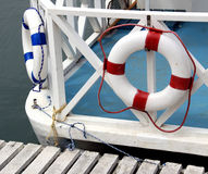 Lifebelts. On the deck of a little ship Royalty Free Stock Images