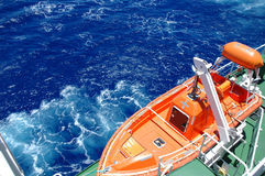 Lifeboat. Safety first – ship's freefall lifeboat on the aft of ship Stock Photo