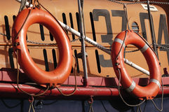 Lifeboat. Two survival rings from a lifeboat Royalty Free Stock Photography