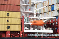 Lifeboat Aboard Cargo Ship MSC BRUNELLA. Royalty Free Stock Photography
