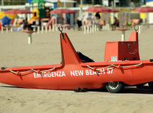 The  lifeboat  on the beach, Italy Stock Images