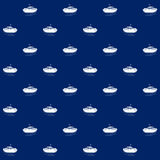 Lifeboat on Blue Background , Seamless Pattern Stock Image