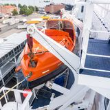 Lifeboat on deck of a ship stock photography