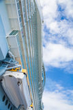 Lifeboat and Decks on Cruise Ship Under Sky Stock Photo