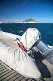 Lifeboat and gibraltar. Bay of algeciras and gibraltar in andalusia spain Stock Image
