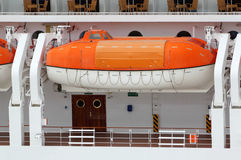Lifeboat installed on large passenger liner deck Stock Photos