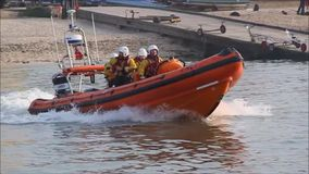 Lifeboat launch stock footage