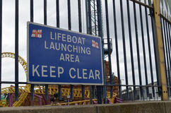 Lifeboat launching area sign. Royalty Free Stock Photography
