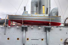 Lifeboat of the legendary revolutionary cruiser Aurora Stock Photography