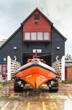 Lifeboat and lifeboat hut. Stock Images