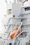 Lifeboat modern on cargo ship. Lifeboat modern design on cargo ship - emergency rescue vessel Stock Photo