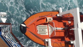 Lifeboat on ocean liner stock video
