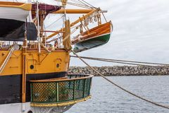 Lifeboat on an old historical sailboat. Sines Stock Image