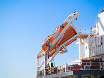 Lifeboat on commercial ship Stock Photos