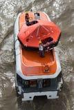Lifeboat recovering liferaft Stock Image