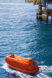 Lifeboat or rescue boat in offshore, Safety standard Stock Photo