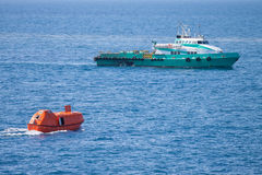 Lifeboat or rescue boat in offshore, Safety standard Stock Photography